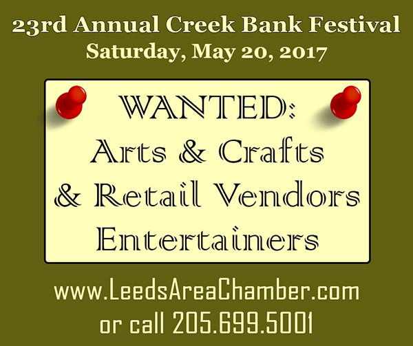 23rd Annual Leeds Creek Bank Festival Booth Space is available for food, crafts and other types of vendors. Electricity is available on a first come-first serve basis and some booth space is limited