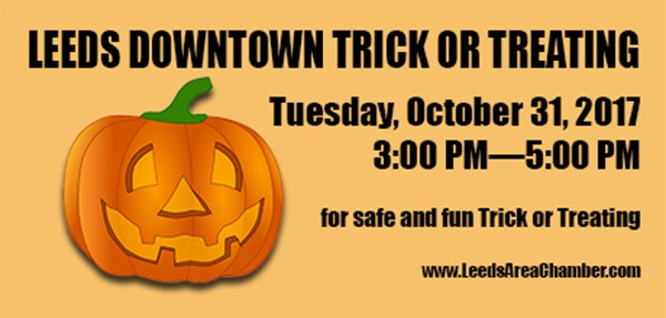 Leeds Downtown Trick or Treat 2017 - For more information, please call 205.699.5001