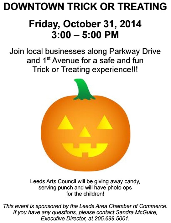 The Leeds Area Chamber of Commerce announces their Annual Leeds Downtown Trick or Treat 2014 scheduled for Halloween afternoon – Friday, October 31, 2014 from 3:00 PM to 5:00 PM.