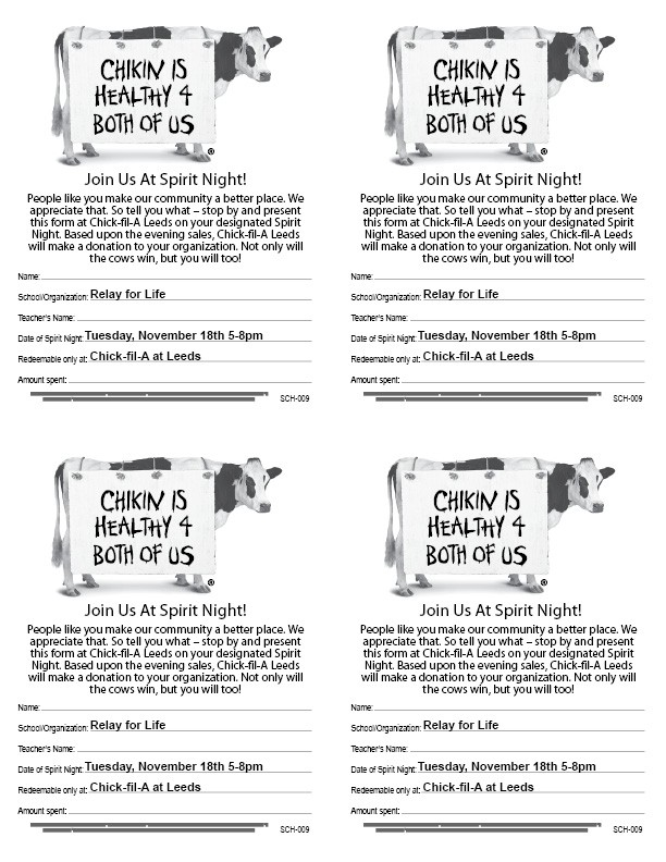 Relay for Life Spirit Night at Chic-fil-A Leeds | Leeds Area ...