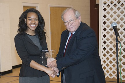 Mayor David Miller presented the Posthumous Award in memory of Charcey Glenn to Daryl-Marie Barkley on behalf of the Barkley-Grenn family-Leeds Area Chamber of Commerce Annual Awards Luncheon 2015