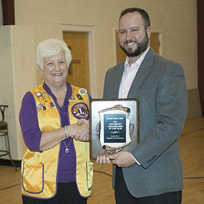 Dr. Rick Palma presented the Non-Profit Club/Organization of the Year Award to the Leeds Lions Club with Betty Forman accepting the award on behalf of the club-Leeds Area Chamber of Commerce Annual Awards Luncheon 2015