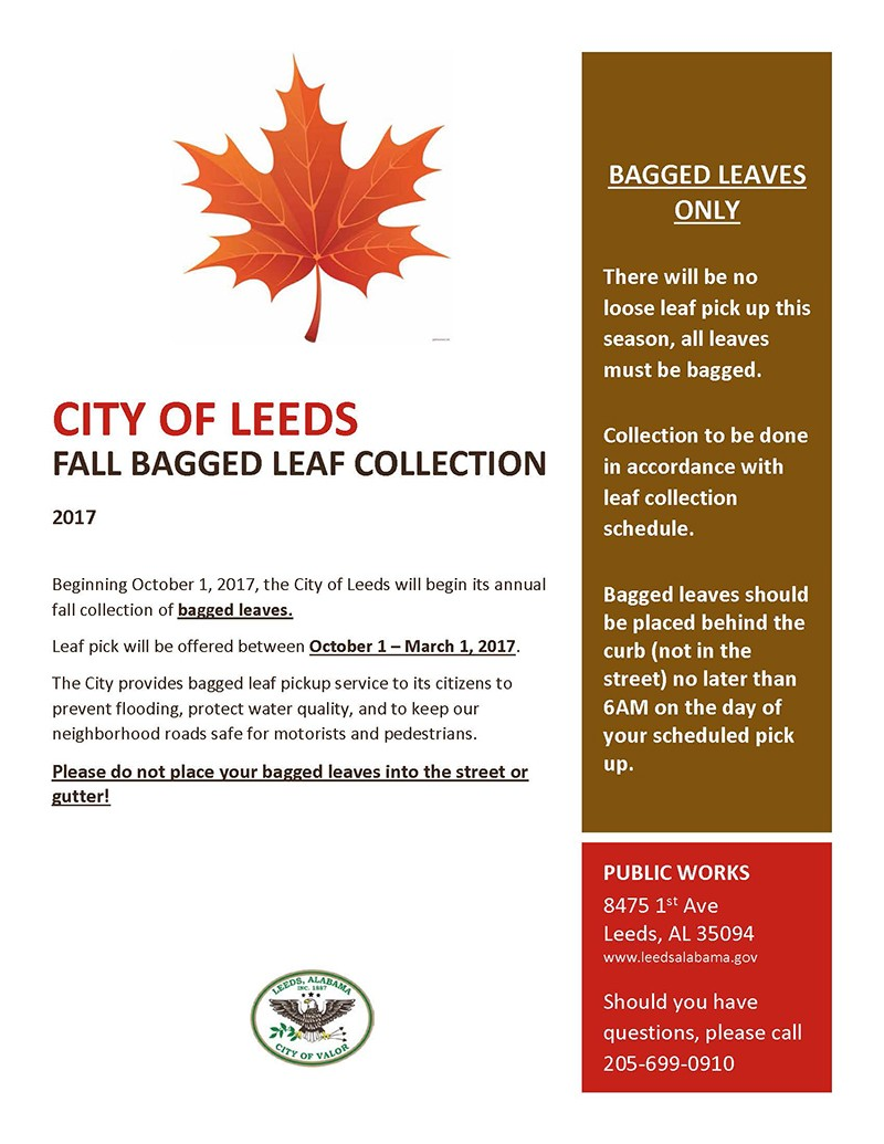 City of Leeds Fall Bagged Leaf Collection 2017