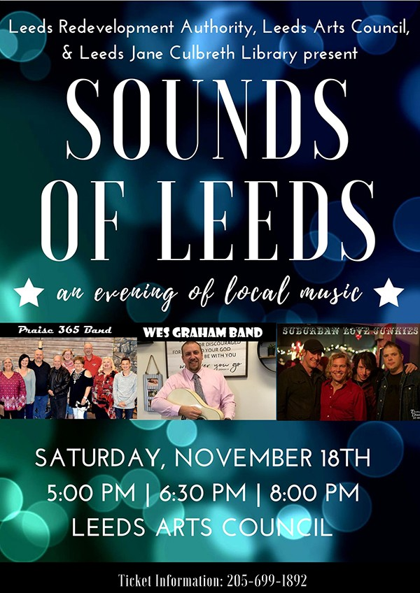 Leeds Redevelopment Authority, Leeds Arts Council and Leeds Jane Culbreth Library present SOUNDS OF LEEDS, an evening of local music Saturday, November 18