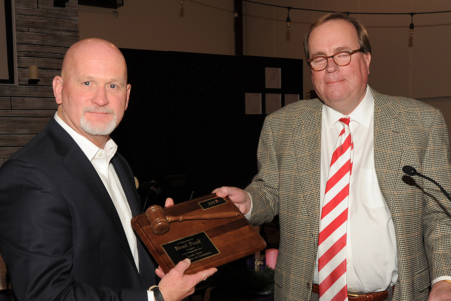 Outgoing and Incoming President of the Leeds Area Chamber of Commerce, Brad Pool (Farmer's Insurance)