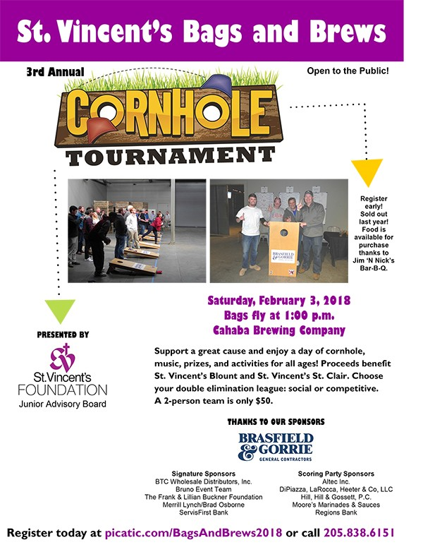 St. Vincent's Bags and Brews 2018 Event | St. Vincent's Bags and Brews 3rd Annual Cornhole Tournament is scheduled for Saturday, February 3, 2018 at Cahaba Brewing Company.  Bags fly at 1:00 p.m. Register today at picatic.com/BagsAndBrews2018.com or call 205.838.6151.