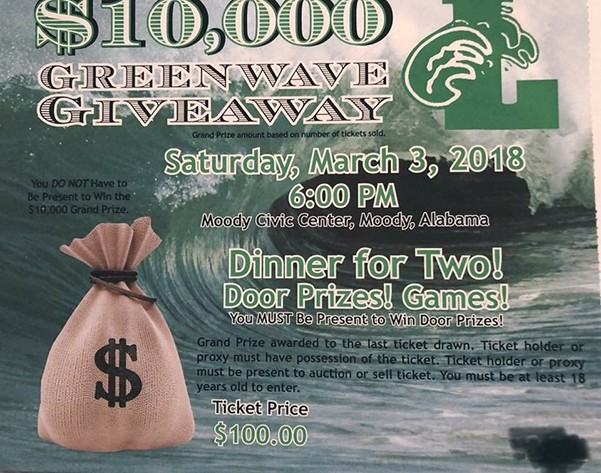 Greenwave Giveway 2018 | Tickets are on sale now for the $10,000 Leeds Green Wave Giveaway event scheduled for 6:00 p.m. on Saturday, Mar. 3 at Moody Civic Center. You do not have to be present to win the $10k grand prize. Tickets are $100 and includes dinner for two as well as fun, door prizes and games.